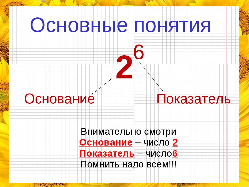 Основные понятия Основание Показатель Внимательно смотри Основание – число 2...