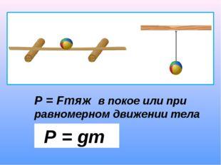 Р = gm Р = Fтяж в покое или при равномерном движении тела