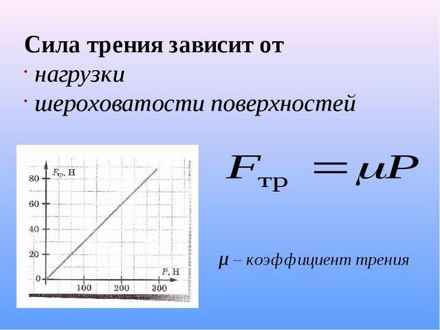 Сила трения зависит от нагрузки шероховатости поверхностей μ – коэффициент тр...