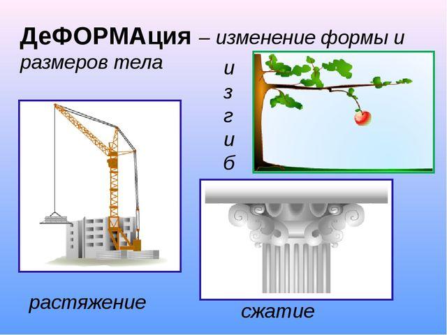 ДеФОРМАция – изменение формы и размеров тела растяжение сжатие изгиб