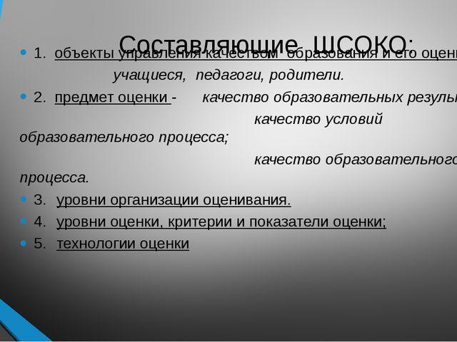 Составляющие ШСОКО: 1. объекты управления качеством образования и его оценки...