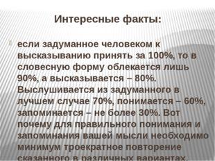 Интересные факты: если задуманное человеком к высказыванию принять за 100%, т