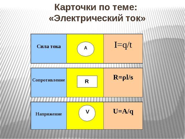 Карточки по теме: «Электрический ток» А R V Силатока I=q/t Сопротивление R=ρl...