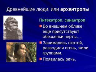 Древнейшие люди, или архантропы Питекатроп, синантроп Во внешнем облике еще п