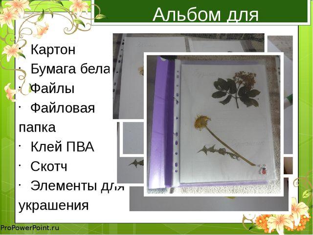 Альбом для гербария Картон Бумага белая Файлы Файловая папка Клей ПВА Скотч Э...