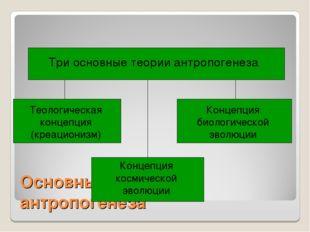 Основные теории антропогенеза Три основные теории антропогенеза Теологическая