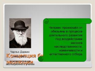 Концепция биологической эволюции Чарльз Дарвин (1809-1882) - основоположник э