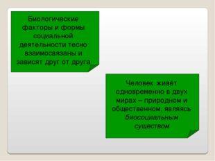 Биологические факторы и формы социальной деятельности тесно взаимосвязаны и з