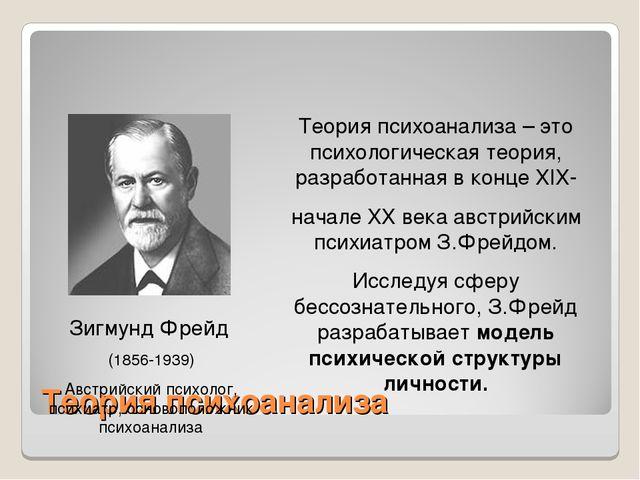 Теория психоанализа Зигмунд Фрейд (1856-1939) Австрийский психолог, психиатр,...
