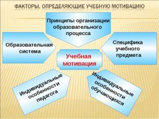 Учебная мотивация Образовательная система Специфика учебного предмета Индиви