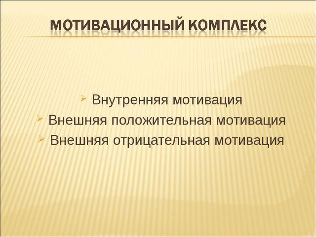 Внутренняя мотивация Внешняя положительная мотивация Внешняя отрицательная мо...