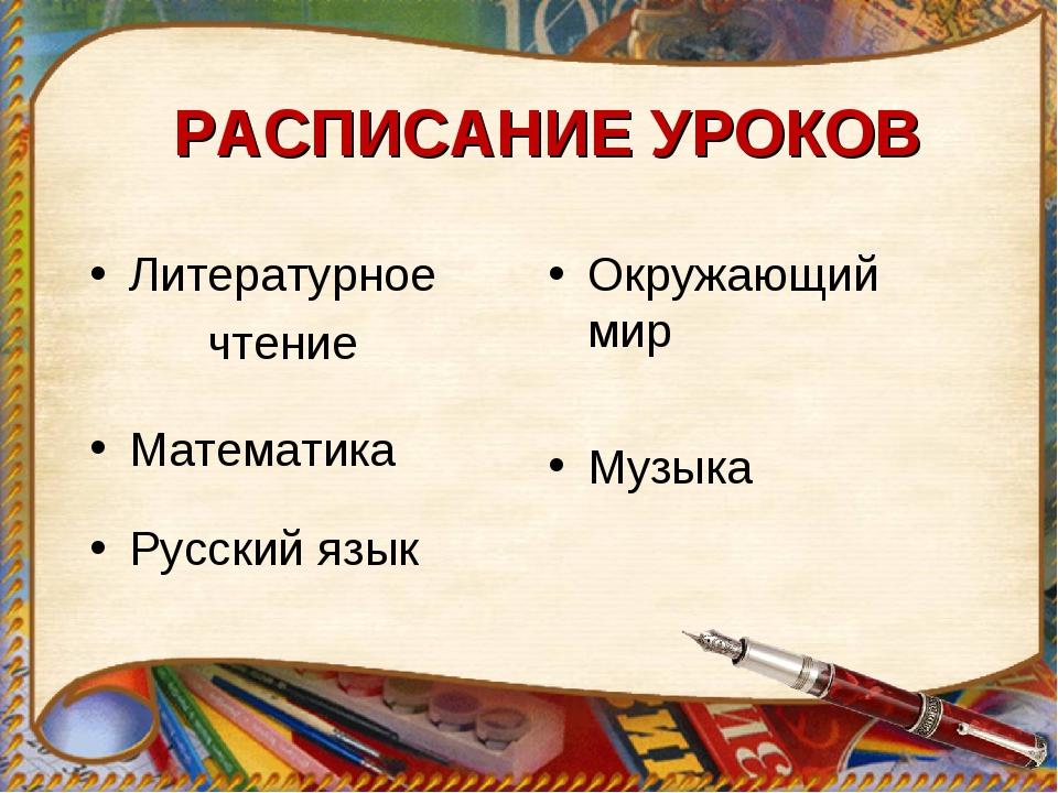 РАСПИСАНИЕ УРОКОВ Литературное чтение Русский язык Математика Окружающий мир...