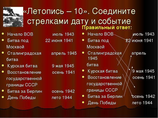 «Летопись – 10». Соедините стрелками дату и событие Начало ВОВ июль 1943 Битв...