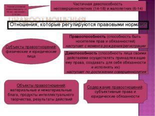 Отношения, которые регулируются правовыми нормами Субъекты правоотношений: фи