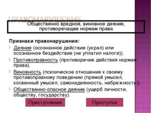 Признаки правонарушения: Деяние (осознанное действие (украл) или осознанное б