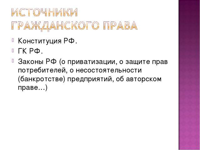 Конституция РФ. ГК РФ. Законы РФ (о приватизации, о защите прав потребителей,...