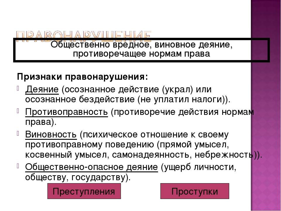 Признаки правонарушения: Деяние (осознанное действие (украл) или осознанное б...