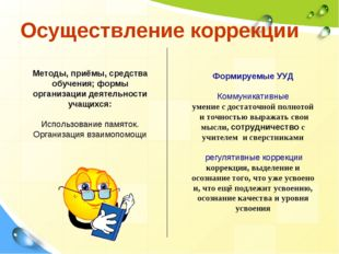 Осуществление коррекции Методы, приёмы, средства обучения; формы организации