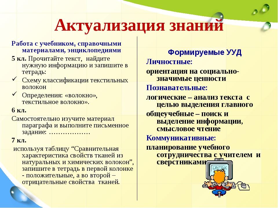 Актуализация знаний Работа с учебником, справочными материалами, энциклопедия...
