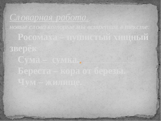Словарная работа. новые слова которые мы встретим в тексте: Росомаха – пушис...