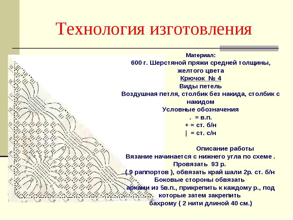 Технология изготовления Материал: 600 г. Шерстяной пряжи средней толщины, жел...