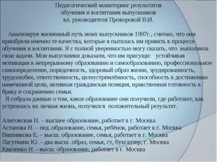 Педагогический мониторинг результатов обучения и воспитания выпускников кл. р