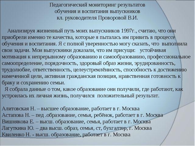 Педагогический мониторинг результатов обучения и воспитания выпускников кл. р...