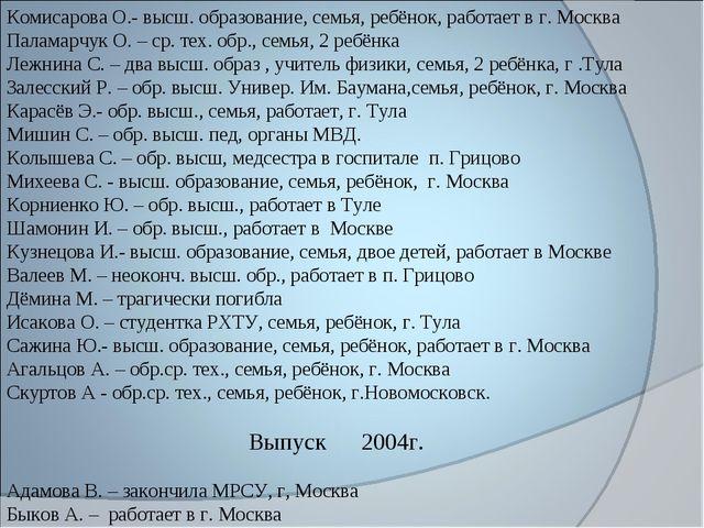 Комисарова О.- высш. образование, семья, ребёнок, работает в г. Москва Палама...