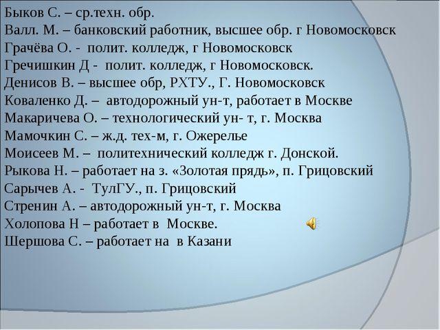 Быков С. – ср.техн. обр. Валл. М. – банковский работник, высшее обр. г Новомо...