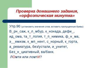 Упр.96 (установить значения слов, вставить пропущенные буквы) В_рн_саж, к_л_м