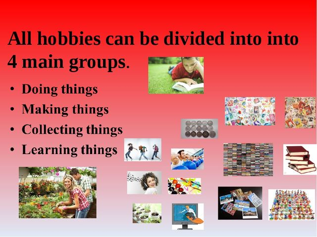 All hobbies can be divided into into 4 main groups.