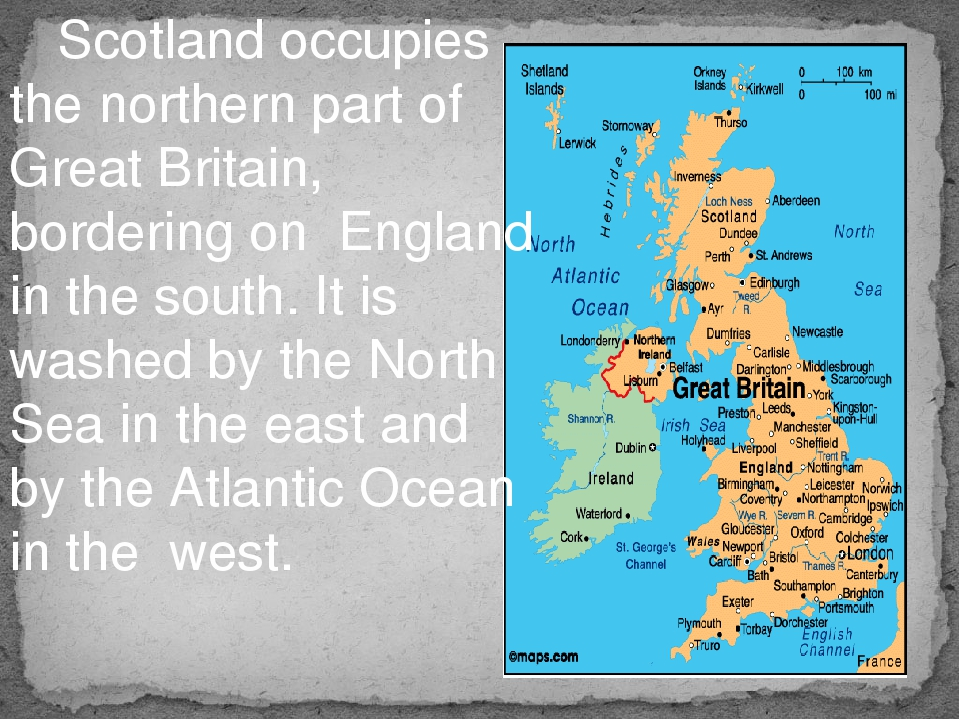 Scotland occupies the northern part of Great Britain, bordering on England i...