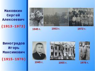 Маковкин Сергей Алексеевич (1913-1973) Виноградов Игорь Максимович (1915-1976