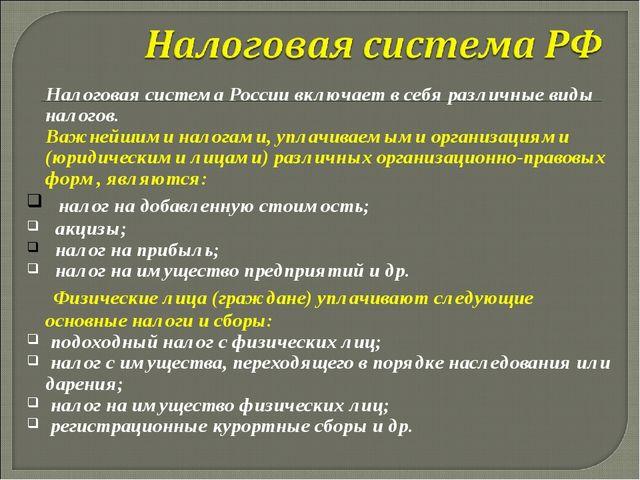 Налоговая система России включает в себя различные виды налогов. Важнейшими...