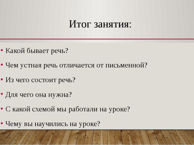 Итог занятия: Какой бывает речь? Чем устная речь отличается от письменной? Из...