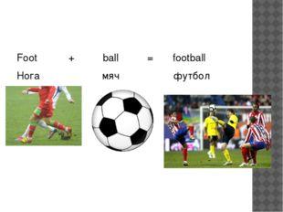 Foot + ball = football Нога мяч футбол