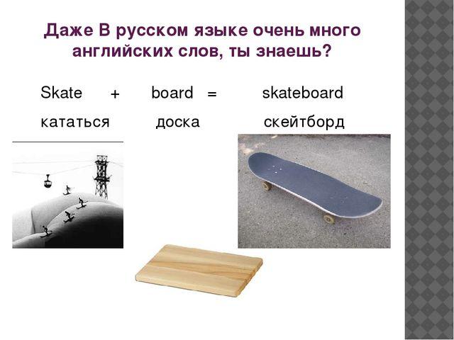 Даже В русском языке очень много английских слов, ты знаешь? Skate + board =...