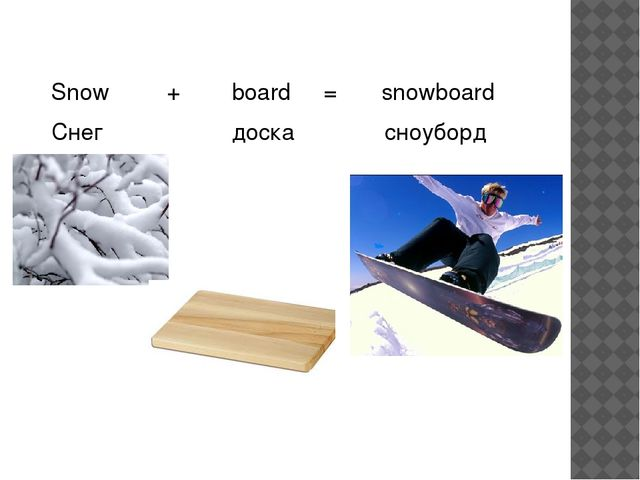 Snow + board = snowboard Снег доска сноуборд