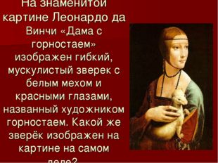 На знаменитой картине Леонардо да Винчи «Дама с горностаем» изображен гибкий,