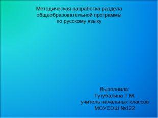Методическая разработка раздела общеобразовательной программы по русскому язы