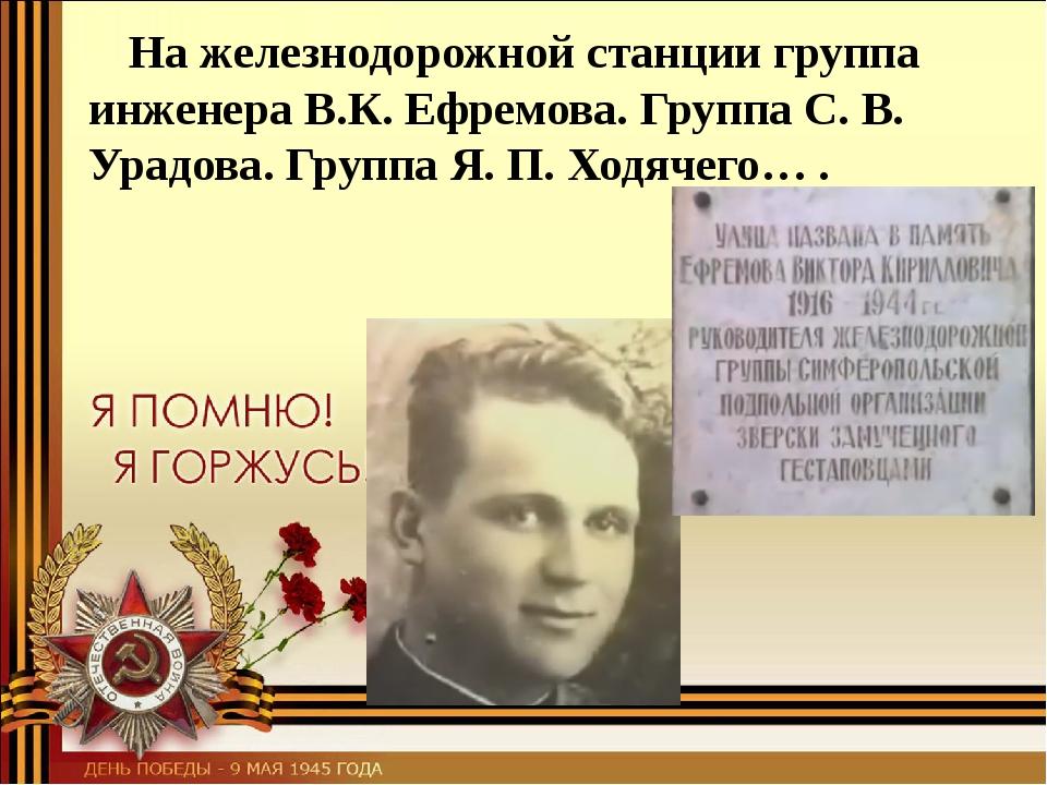На железнодорожной станции группа инженера В.К. Ефремова. Группа С. В. Урадо...