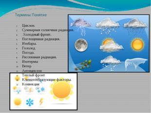 Термины Понятие Циклон. Суммарная солнечная радиация. Холодный фронт. Поглоще