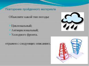 Повторение пройденного материала Объясните какой тип погоды: Циклональный; Ан