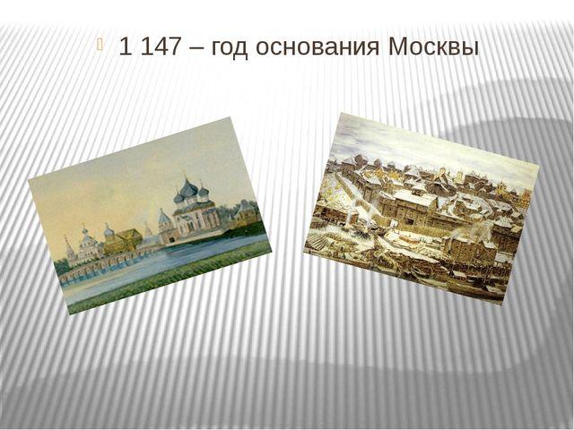 1 147 – год основания Москвы