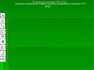 Устройство системы ЧПУ 2Р22 Укажите назначение клавиш пульта управления систе