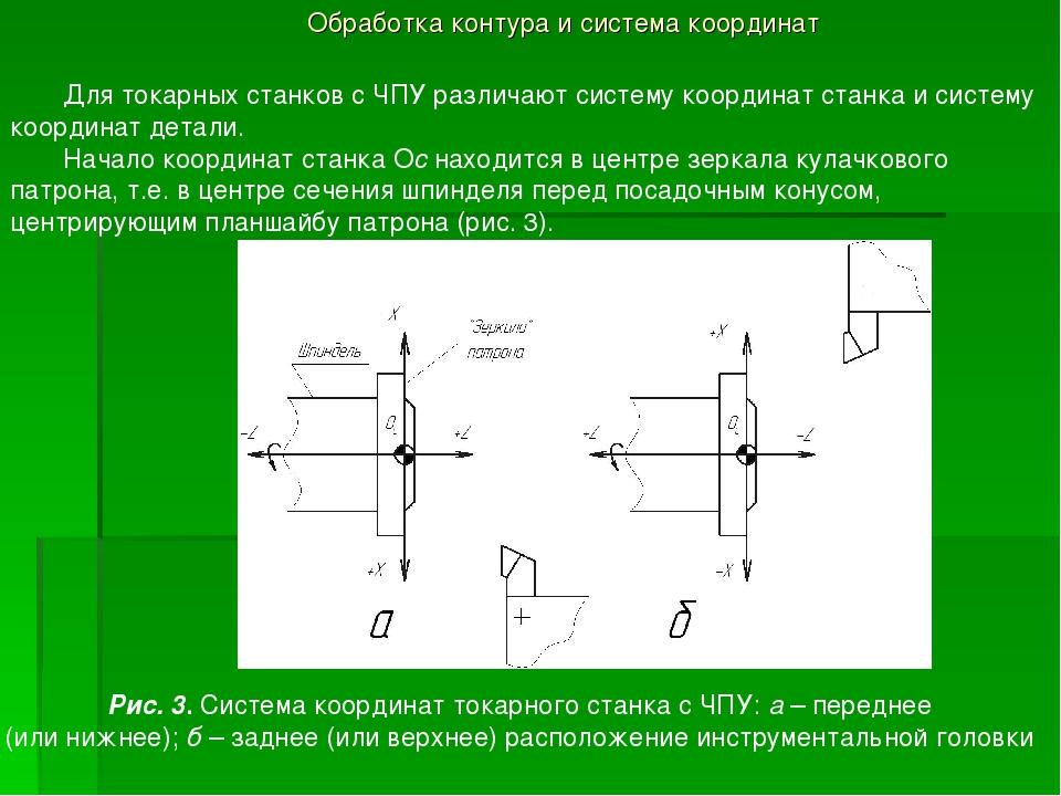 Обработка контура и система координат Для токарных станков с ЧПУ различают си...