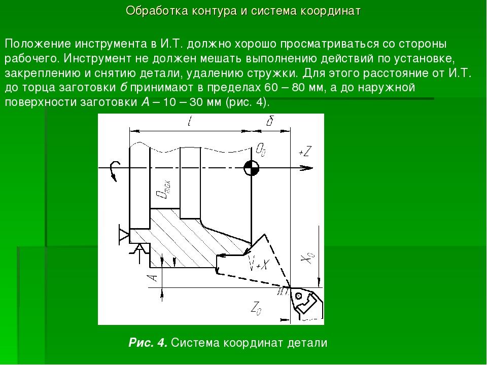 Обработка контура и система координат Положение инструмента в И.Т. должно хор...