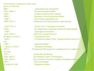 Соотнесите отдельно в листочке даты и события 988 г. Бородинское сражение. 12