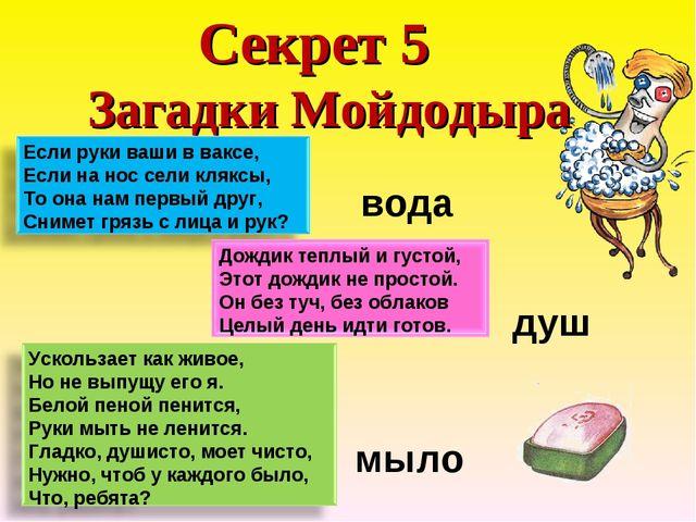 Секрет 5 Загадки Мойдодыра вода душ мыло