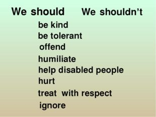 We shouldn't We should be kind be tolerant offend humiliate help disabled pe